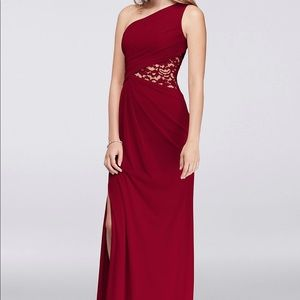 David's Bridal One Shoulder Dress with Mesh Inset